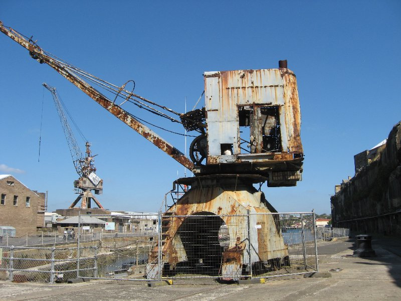 An old rusting crane from the dockyard days.