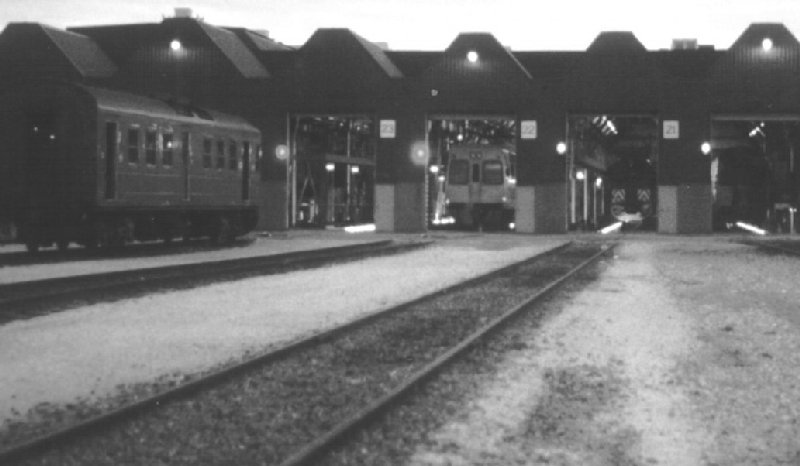 Adelaide Railcar Depot at dusk,1990s