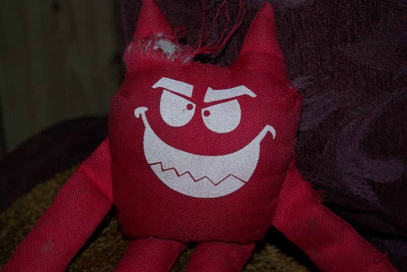 Cindy's toy has rather an evil looking smile.