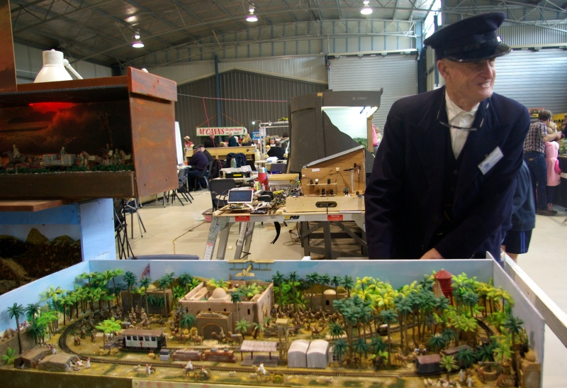 Historian Peter Fielding with his exhibit at the model train show.