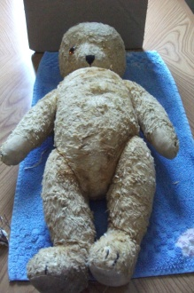 This poor old bear needed new eyes and ears.