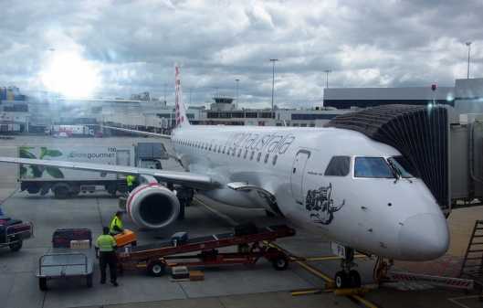Luggage being loaded onto a Virgin Australia 737