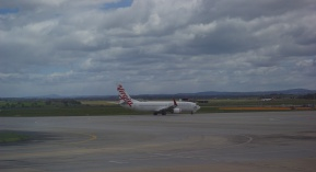 Jet taking off at Tullarmarine Airport, Melbourne.