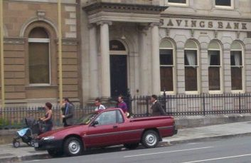 """A """"ute"""" parked in Murray St in Hobart."""