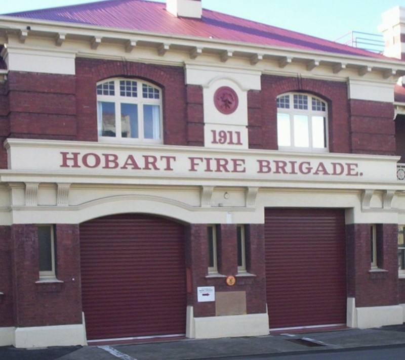 Doors to the Hobart Fire Station