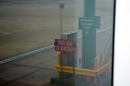 Give Way sign at airport
