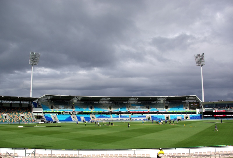 Blundstone Arena under a cloudy sky.