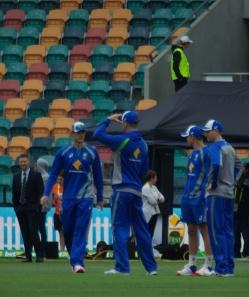 Former Australian Captain Michael Clarke watches the warm up.