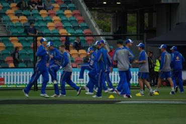 The Australian team, Blundstone Arena, Hobart