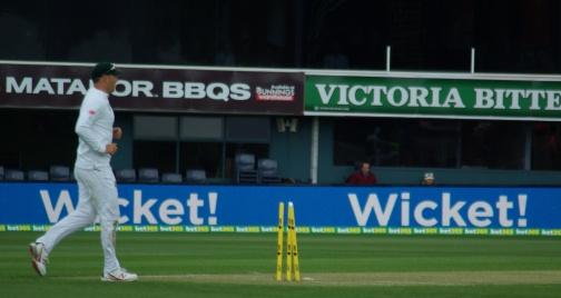 A wicket is taken.
