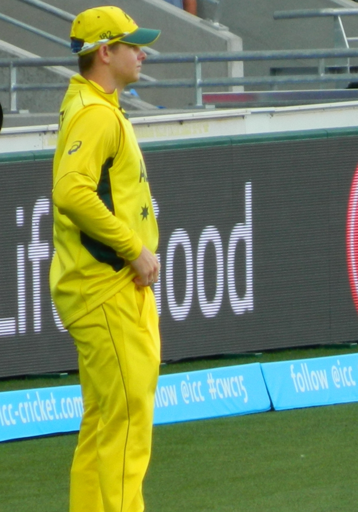 Steve Smith on the field at Bellerive at the Australia v Scotland World Cup Match in 2015.