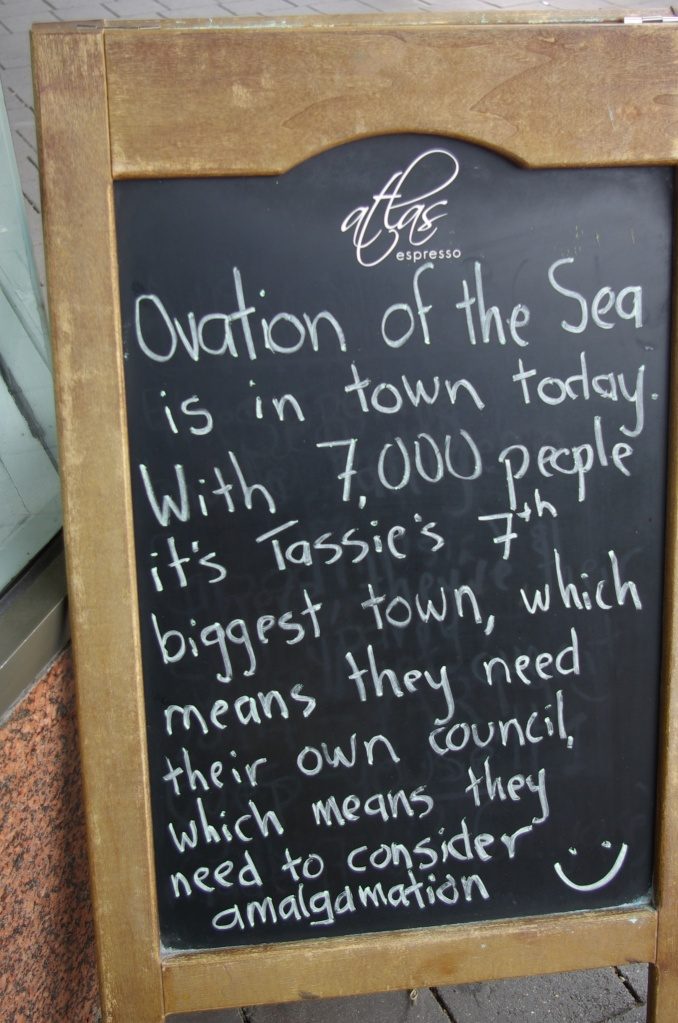 A local coffee shop in Hobart welcomes the ship to Tasmania.