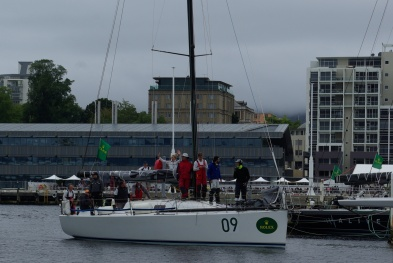 Another yacht arrives in Hobart.