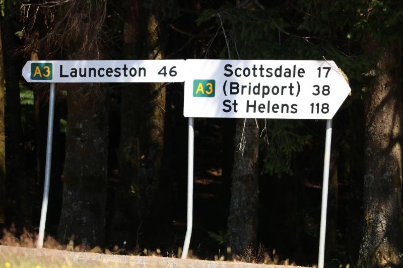 Signs on the Tasman Highway.