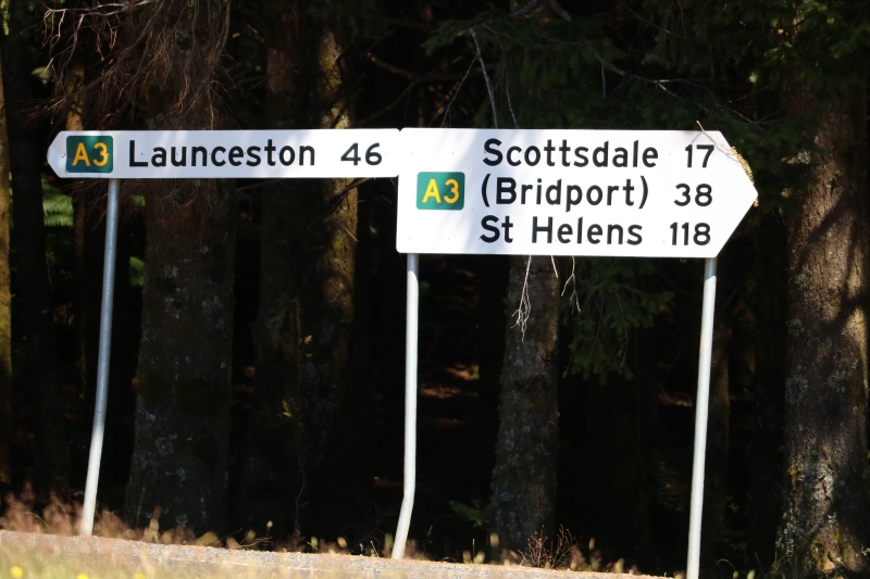 Signs on the Tasman Highway.