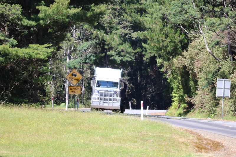 Truck on the Tasman Highway near The Sideling lookout.