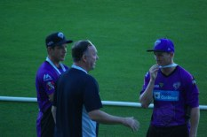 Tim Paine and George Bailey learn to be umpires.
