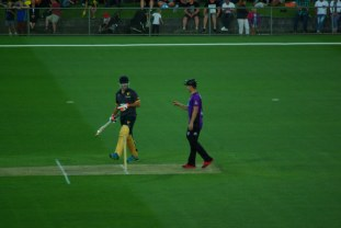 Damien Fleming and Umpire Tim Paine