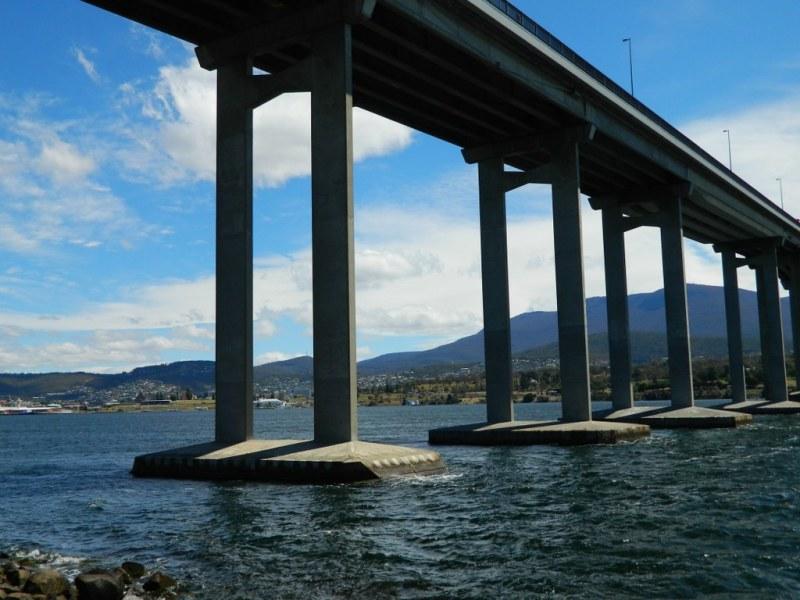 The Tasman Bridge from below.