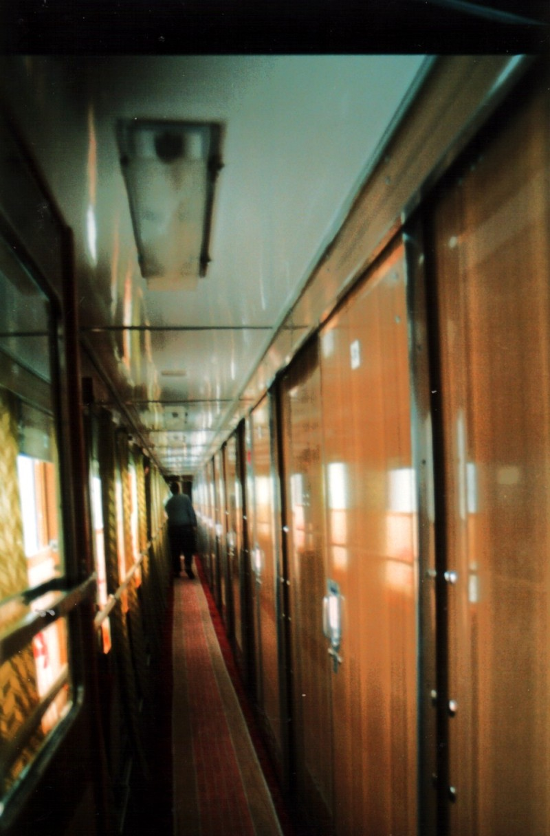 Corridor in a carriage on the TransMongolian Express 1990