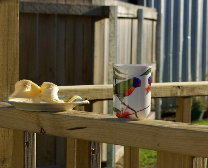 coffee mug and banana peel