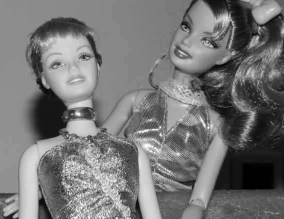 A pair of Fashionista Barbies