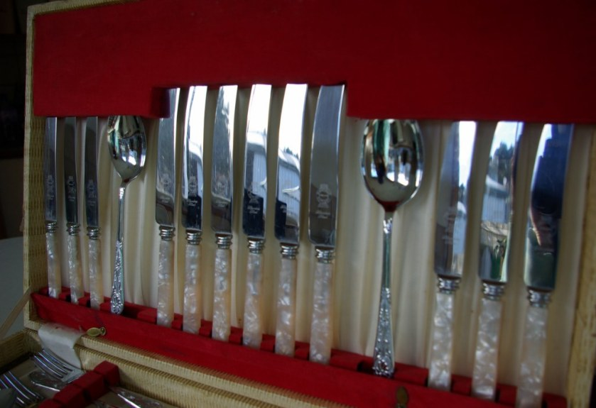 Mother of pearl handled cutlery set