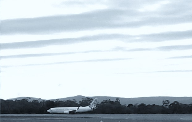 Jet about to take off from Hobart airport.