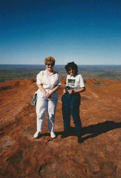 On the summit of Uluru with my then penfriend Christy from Las Vegas.