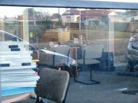 This was taken through the window. You can see some of the furniture they will be using.