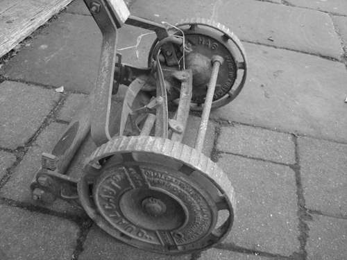 Very old hand lawn mower