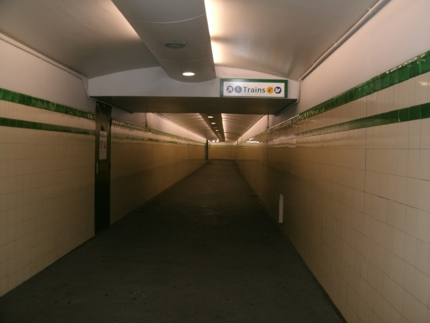 Passage leading to trains in a Sydney Station