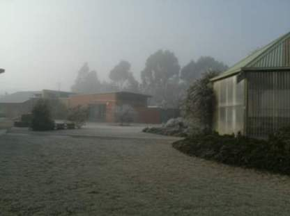 The hospital grounds and frosty grass area.