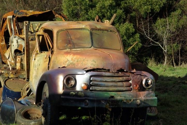 vintage wrecked car