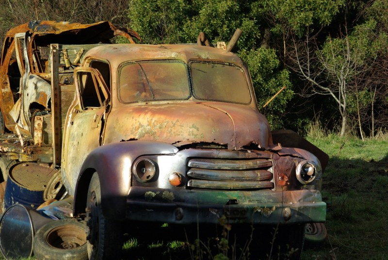 vintage wrecked car