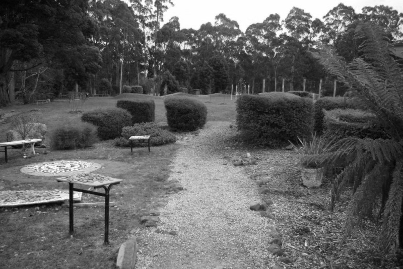 gravel path black and white