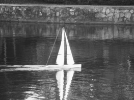 Here is a remote control yacht. I have seen these quite often in parks and on the Derwent River. I've seen a lot of people having a wonderful time racing them. Nearly as good as the America's Cup race I'd say.