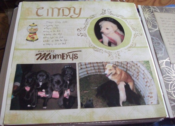Scrapbook page about Cindy.