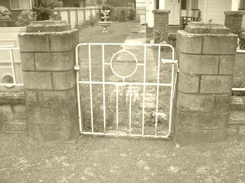 Front gate showing brick pillars