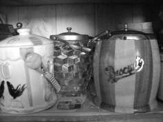Here are some old biscuit barrels.