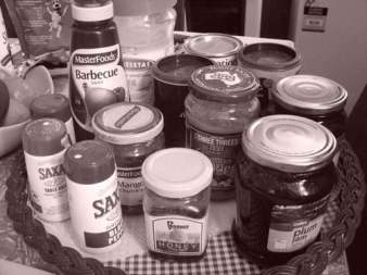 Some of my jams, sauces, salt and pepper etc.