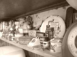 A shelf in my kitchen with some of my vintage stuff on it.