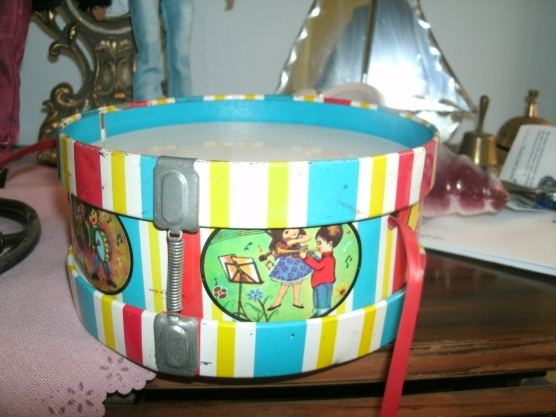 vintage tin litho drum