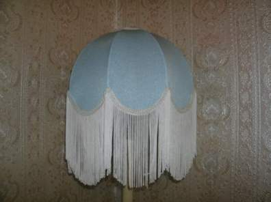 A fringed lampshade on a standard lamp.