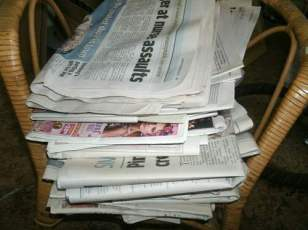Old newspaper used for my packing up.
