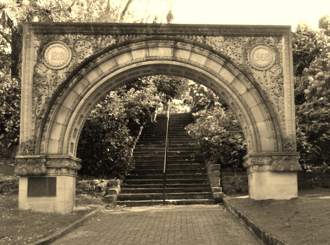 Grand old arch at the Botanical Gardens in Hobart.