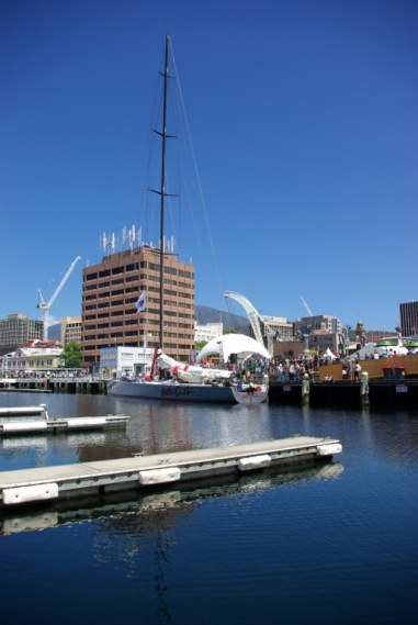Wild Oats XI first to arrive in Hobart this year but penalised for an incident in Sydney Harbour