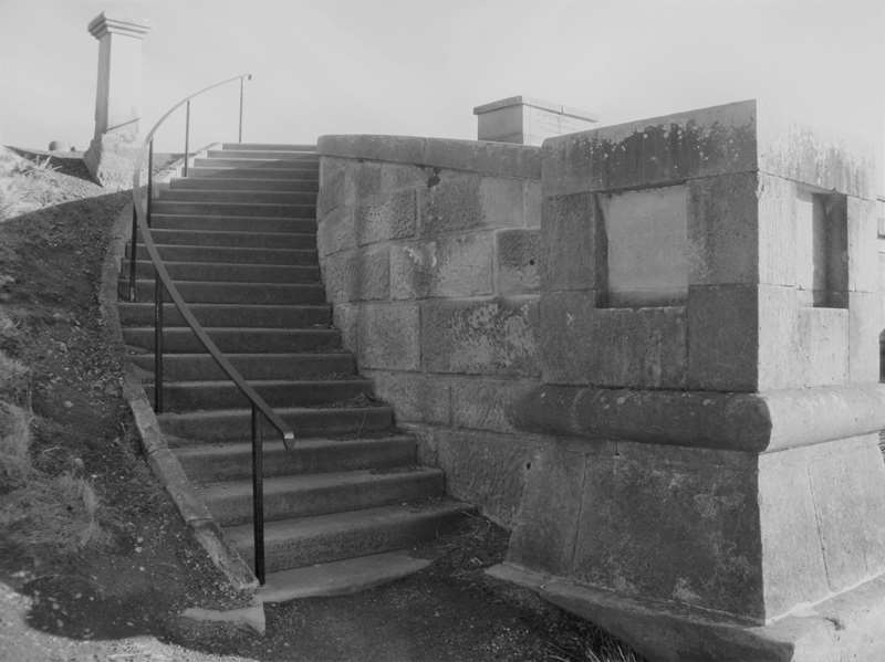 Sandstone walls and steps leading to the top of th