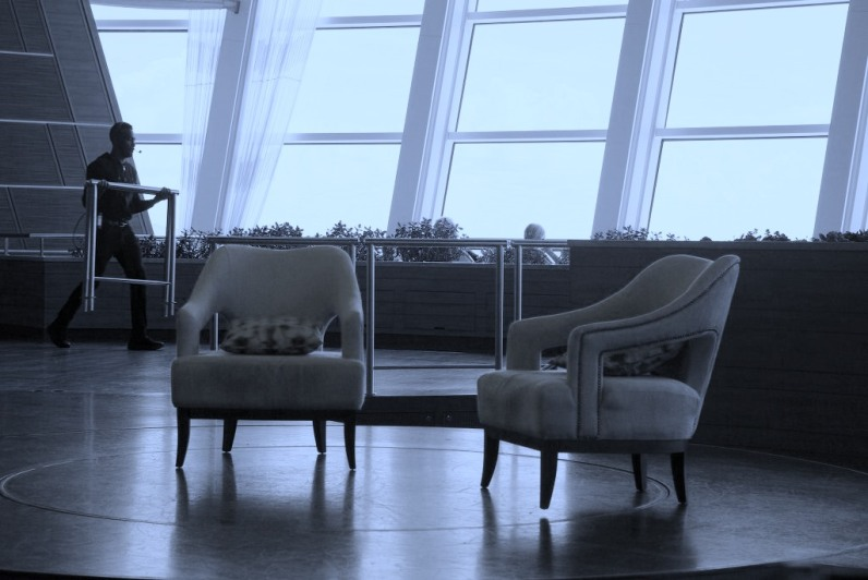 Chairs set up for an interview in the Two 70 lounge