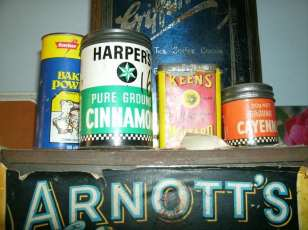 Tins with paper labels